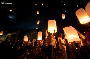 Lampion Party at Borobudur Temple